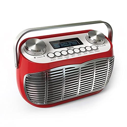 DETROIT DAB Radio Alarm Clock Bedside Mains Powered Or Battery DAB DAB+ FM Retro Radio With LCD Display Clock Radio (Red)