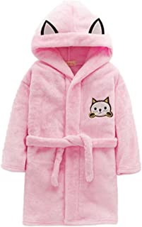Image of Cartoon Kitten Robe for Girls with Cat Ears - Also Available in Blue