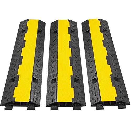 VEVOR 3PCS Rampes Protection Câble 2 Canaux Passage Câbles 98 cm Protecteur PVC Caoutchouc Capacité Charge 10163 kg Canal 3x3,5 cm pour Protéger Câbles d'Alimentation des Sols Parking 98x24x5,08 cm