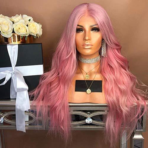 Mode Roze Lange Golvende Zijscheiding Natuurlijke Pruik Vrouwen Cosplay Party Haarstukje - Roze roze