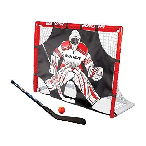 BAUER - Street Hockey Goal Set inkl. Shooter, Schläger & Ball I Outdoor-/Indoor-Tor I Tor mit Puckwand I PVC-Rahmen I Tor für Hockeybälle und Pucks I Streethockey-Training I Feldhockey - Rot