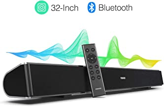 TENKER Soundbar for TV, 32-inch 4 Speakers Wired and Wireless Bluetooth 2-Channel Optical..