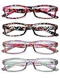 KOOSUFA Lesebrille Damen Blumen Qualität Rechteckige Anti Müdigkeit Brille Lesehilfe Sehhilfe...