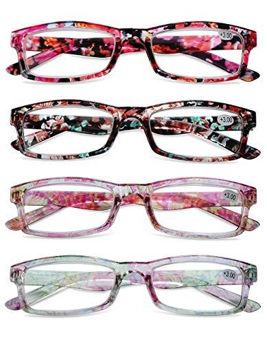KOOSUFA Lesebrille Damen Blumen Qualität Rechteckige Anti Müdigkeit Brille Lesehilfe Sehhilfe Retro Designer Mode Vollrandbrille mit Stärke 1.0 1.5 2.0 2.5 3.0 3.5 4.0 (4 Farben Set, 1.5)