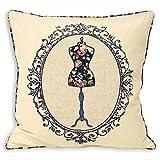 Paoletti - Victoria - Funda para cojín - 100 % algodón - Aplique de un maniquí - Azul marino - 45 x 45 cm