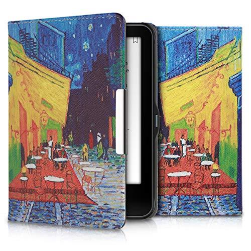 kwmobile Hülle kompatibel mit Tolino Vision 1/2 / 3/4 HD - Kunstleder eReader Schutzhülle Cover Case - Ölmalerei Café bei Nacht Blau Gelb Orange
