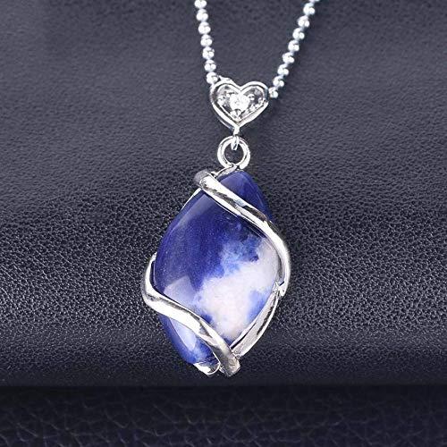 TFOOD steen halsketting voor vrouwen ,7 chakra natuurlijke lapis lazuli hanger halsketting zilver ketting kristal charme energie balans voor moederdag man geschenken sieraden