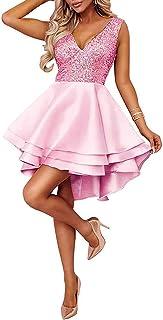 Minetom Damen Kleid Sexy V-Ausschnitt Mini Kleider mit Glänzend Ärmellose Pailletten Schlank Kurz Ausgestellt Skater Kleider Tutu Party Abend Verein Cocktail Formal