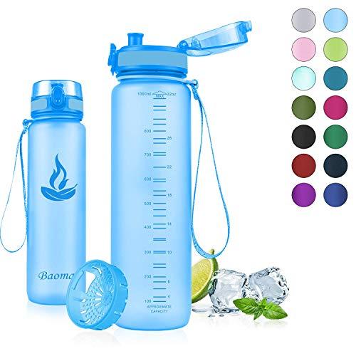 Baomay Botella de Agua Deportiva 500ml, Adultos/Niños Bottle con Filt