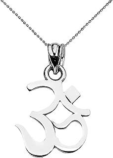 Fine Sterling Silver Ohm (OM) Ganesh Yoga Charm Pendant Necklace