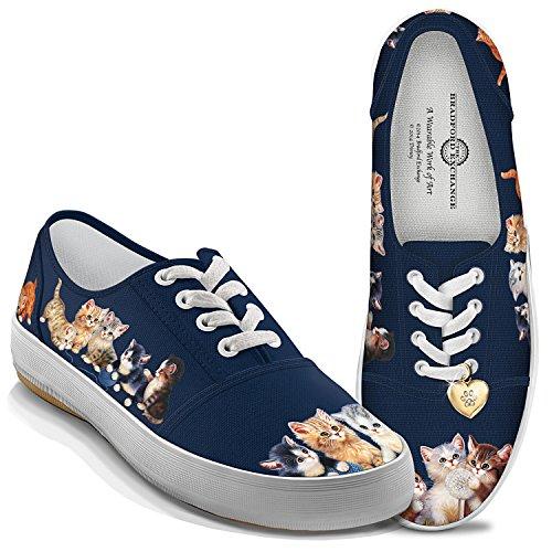 Bradford Exchange Jurgen Scholz Kitty-Kat Cute Women's Canvas Cat Art Shoes: 8 by The