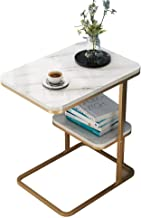 Sofa Side End Table, C-Shaped Small Side Table Nordic Minimalist End Table Metal Coffee Tea Table,Sofa Side Table with Sto...