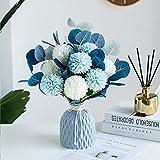 Baixtuo Plantas Artificiales Decorativas,Flores de Hortensia Artificial, crisantemo de Seda pequeña Bola de Flores para la decoración de la Oficina del jardín del hogar,con jarrón (Azul)