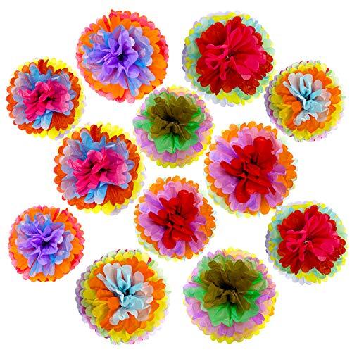 Zerodeco Fiesta Party Dekoration, 12 Stück Seidenpompons Papier Pompom für Mexikanische Festliche Cinco De Mayo Party Gefälligkeiten