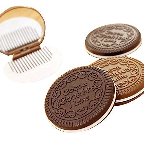 Portable mignon chocolat cookie forme cosmétique maquillage miroir peigne Lady Girl