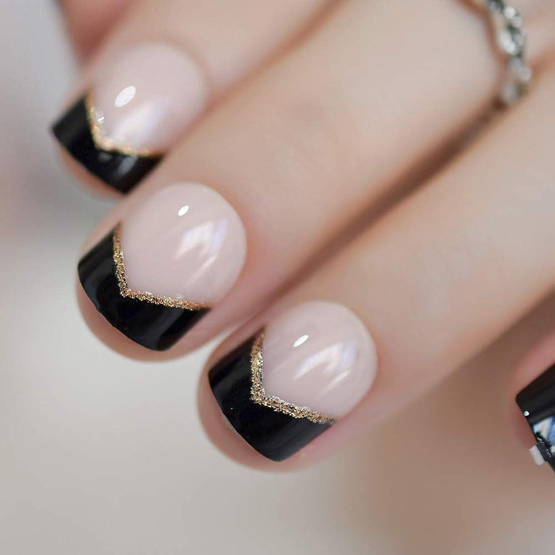 ホールドオール全員に負けるXUTXZKA 短い爪黒のヒントゴールドグリッターアングル装飾された女性のための自然な偽の爪