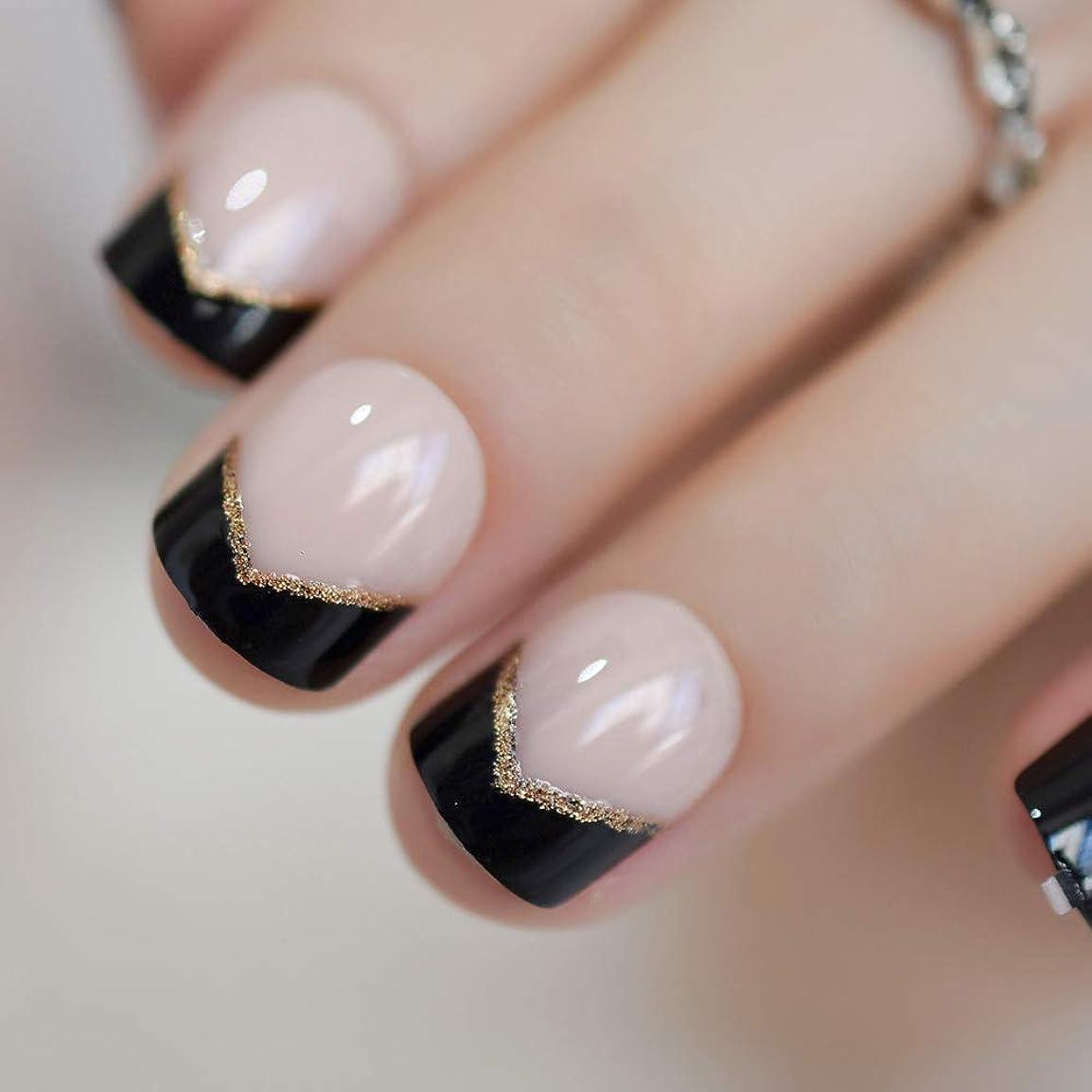 平和近所の殉教者XUTXZKA 短い爪黒のヒントゴールドグリッターアングル装飾された女性のための自然な偽の爪
