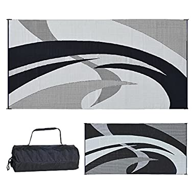 Reversible Mats 159181 Black & White Swirl Pattern Mat 9-Feet x 18-Feet