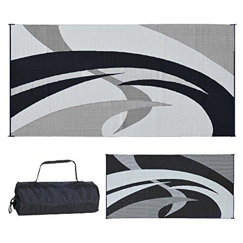 Reversible Mats 159181 Black & White Swirl Pattern Mat 9-Feet x 18-Feet