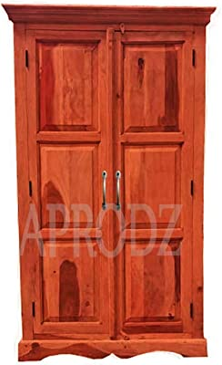 Aprodz Mojo Sheesham Wood Two Door Wardrobe (Sheesham Wood - Honey)