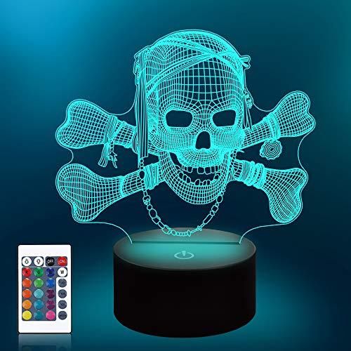 CooPark 3D Schädel Nachtlicht, LED skull Illusion lampe, 16 Farben ändern & Fernbedienung Raum neben Schreibtisch Nachtlampe Geburtstag Weihnachten Halloween Geschenke für Kinder