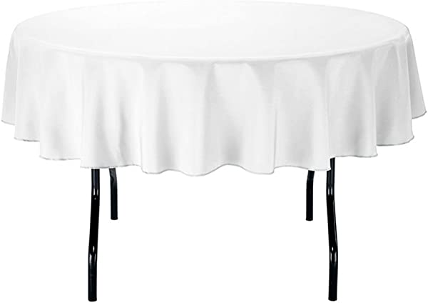 Gee Di Moda Tablecloth 70 Inch Round Tablecloths For Circular Table Cover In White Washable Polyester Great For Buffet Table Parties Holiday Dinner More