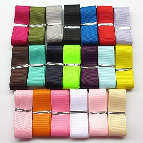 "Chenkou Craft Assorted of 20 Yards Grosgrain Ribbon Total 20 Colors Mix Lots Bulk (1""(25mm))"