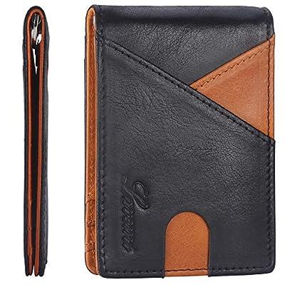 Lavemi Money Clip Wallet for Men Waxed Leather Slim Front Pocket RFID Blocking Minimalist Wallet(Black/Brown)