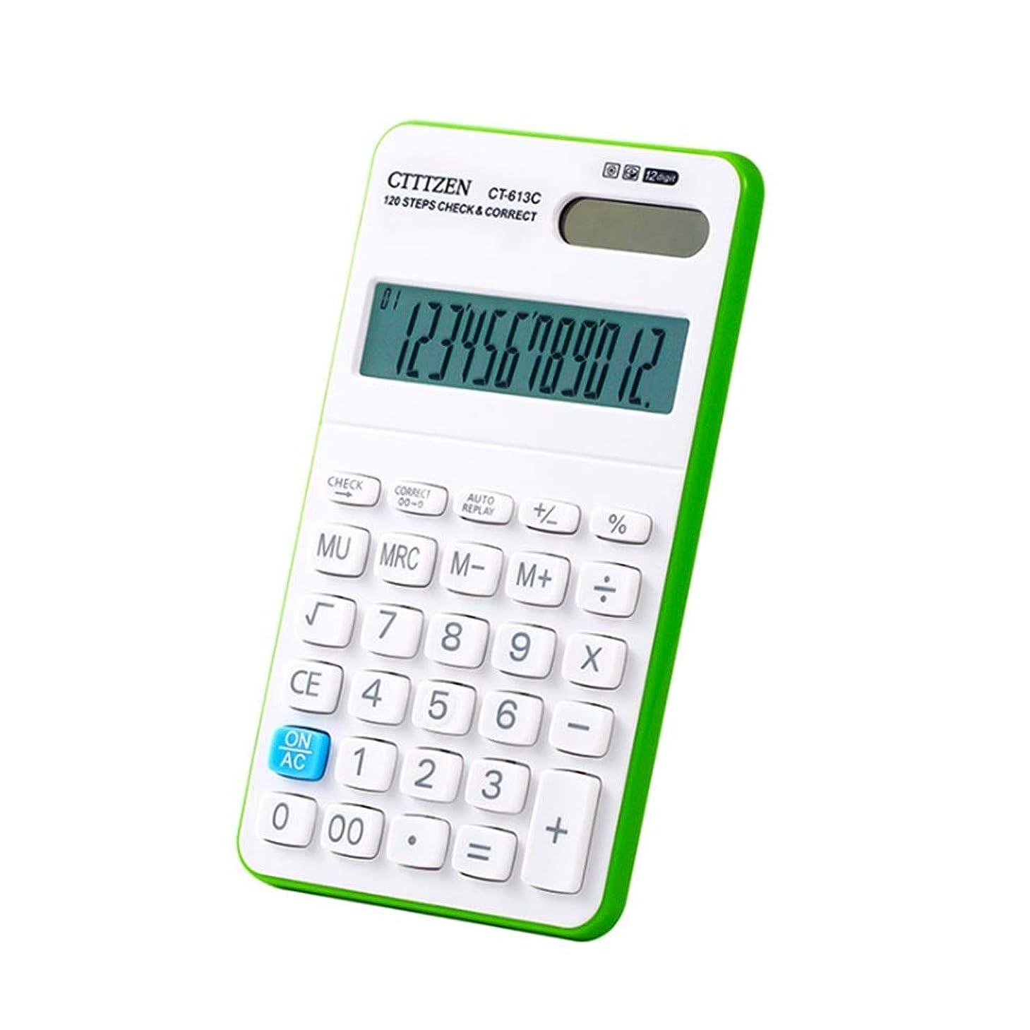 蜂ビザ緯度デスク電卓 12桁の大型ディスプレイ電卓ソーラーバッテリーLCDディスプレイオフィス電卓電子デスクトップ電卓ブラックブルーグリーンオレンジビジネスギフト 学校ホームオフィス用 (色 : 緑)