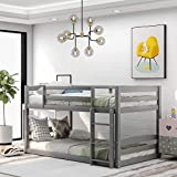 Twin-Over-Twin bunk Bed, Solid Wood Twin Double Bunk Bed for Kids, Adults, Can be Divided Into 2 Separate Beds, Grey