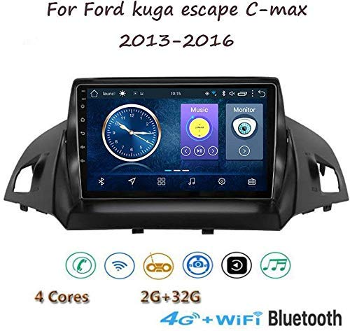 Android 8.1 GPS Navigazione Stereo Autoradio, 9' 1080P HD Touch Screen Video Player, per Ford Kuga Escape C-Max 2013-2016, Mirror Link Controllo Volante Bluetooth Hands-free Calls,4G+WIFI1G+16G