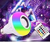 Bombilla con altavoz Bluetooth, E27, 12 W, bombilla LED RGBW, multicolor, cambio de color con mando a distancia, para casa, escenario, fiesta decoración