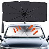 Sfee Car Windshield Sun Shade Umbrella - Foldable UV Rays and Heat Sun Visor Protector UV Block Front Window Reflective Umbrella for Auto Windshield Covers Trucks Cars fit Most Vehicle+Storage Bag(L)