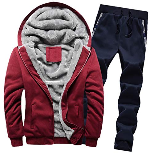 Winter Trainingsanzug,Luotuo Herren Sportanzug Jogginganzug Langarm Hooded Sweatshirt + Sporthose Zwei-Teilig Sportwear Einfarbig Plus Samt Verdicken Warme Slim Fit Zipper Outwear Hose