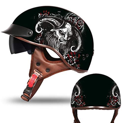 DJCALA Retro Classic Harley Helm Motorfiets Elektrische Scooter Zomer Halve Helm, Open Gezicht Veiligheid Vintage Jet Helm Volwassen Mannen Vrouwen Fiets Cruiser Bromfiets DOT Certificatie