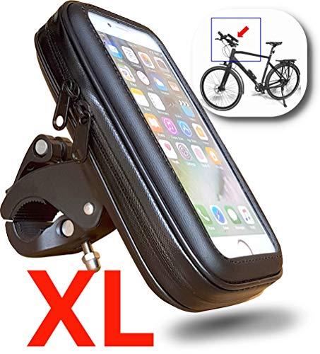 FT18 Supporto telefono impermeabile manubrio della bicicletta, custodia protettiva smartphone con display fino a 6,4 pollici adatto per GPS iPhone Samsung Huawei ecc.