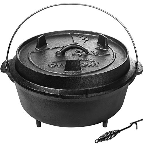 Overmont Camp Dutch Oven Pre Seasoned Cast Iron Lid Also a Skillet Casserole Pot with Lid Lifter for Camping Cooking BBQ Baking 9QT(Pot+Lid)