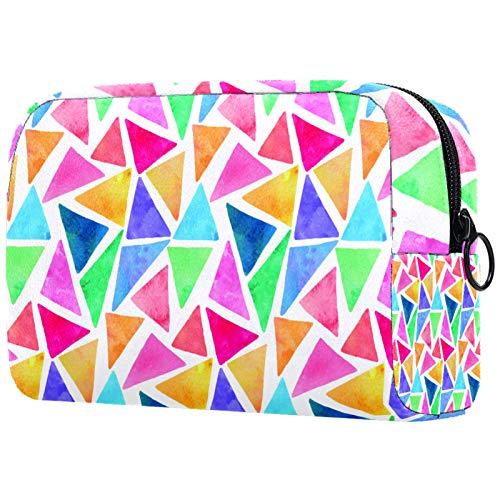 Personalised Makeup Brushes Bag Portable Toiletry Bags for Women Handbag Cosmetic Travel Organiser 水彩 三角形 パターン
