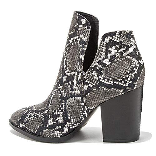 Zoducaran Mujer Botines Stacked Alto Tacón Ancho Clásico Western Booties Slip on Cosplay Shoes Animal Print...