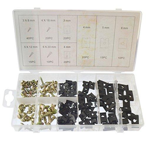 Vis et U Type Vitesse Coussin Assortiment de clips de fixation Kit Habillage 170pcs