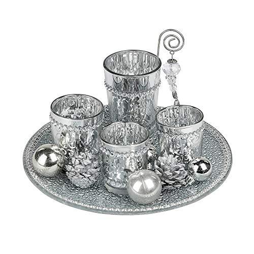 Formano Windlicht-Set Stern aus Glas, 25cm, 1 Stück, Silber-Grau, 5-teiliges Set