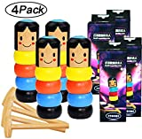Magwei Funny Wooden Man Magic Toy Gift, Unbreakable Stubborn Wood Peg Doll Magic Trick Props Magia Easy Doing for Halloween Christmas (4 Pack)