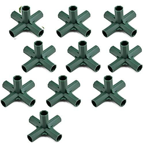 buycheapDG(JP) プラントサポート コネクタ ガーデンツール 5方向 16mm×10個 フラワースタンド 温室フレーム 棚 園芸ラック 温室アクセサリ− プラントステークジョイント 固定 プラスチック製 プラントサポート
