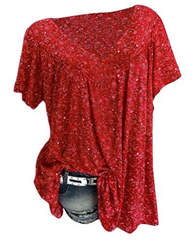 Tomwell Camisa Mujeres Imprimiendo Cuello V Manga Corta Suelto Blusa Shirt Camisetas Tops Vino Tinto ES 50