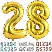 Ponmoo Foil Palloncini Numeri, Gigante Numero 0 1 2 3 4 5 6 7 8 9 10-19 20-29 30 40 50 60 70 80 90 100, Elio Pallone per...
