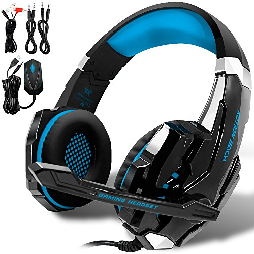 KOTION Each GS900 360 PS3 PS4 PC Gaming Headset AFUNTA Over Ear New Headphone for Computer Laptop Laptop Smartphones with Mic-Black/Blue