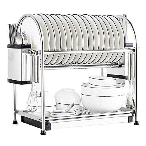 304 Edelstahl Dish Rack Arbeitsplatte Ablassen 2 Tiers Trocknen von Dishs Schalen Chopstics Küche Lagerung Halter Rack Regal
