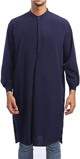 XLDD Men's Muslim Robe Arab Robe for Long Sleeve Islamic Kaftan Men Thobe Arab Muslim Middle East Elegant Tops Ethnic Long...