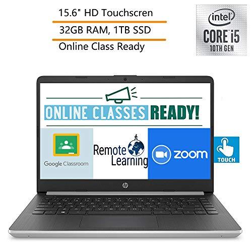 2020 HP 15 15.6' Touchscreen Laptop Computer, 10th Gen Intel Quard-Core i5 1035G1 (Beats i7-7500U), 32GB DDR4 RAM, 1TB PCIe SSD, 802.11AC WiFi, Type-C, Silver, Windows 10, YZAKKA External DVD Drive