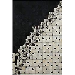 Amazon SYCARPET Cowhide Leather Stitched Rug